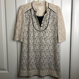 Cooperative size M cream and black lace dress